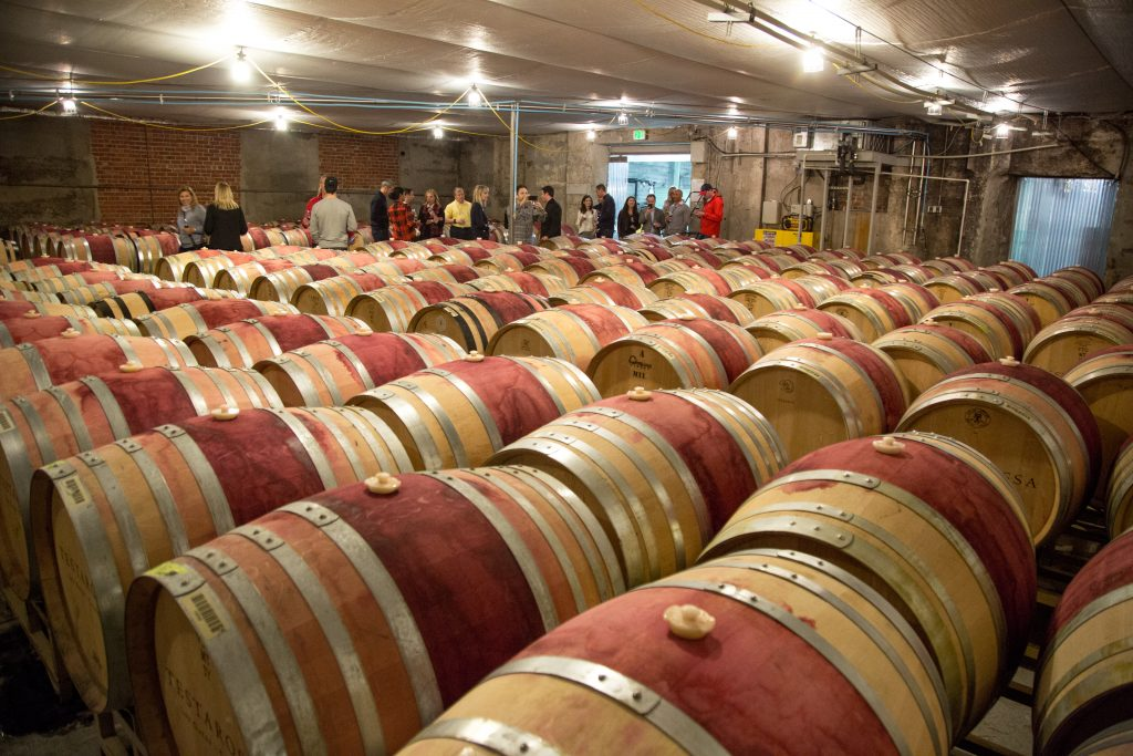 Private barrel tour and wine tasting in Los Gatos, California for a group of sports hospitality executives.