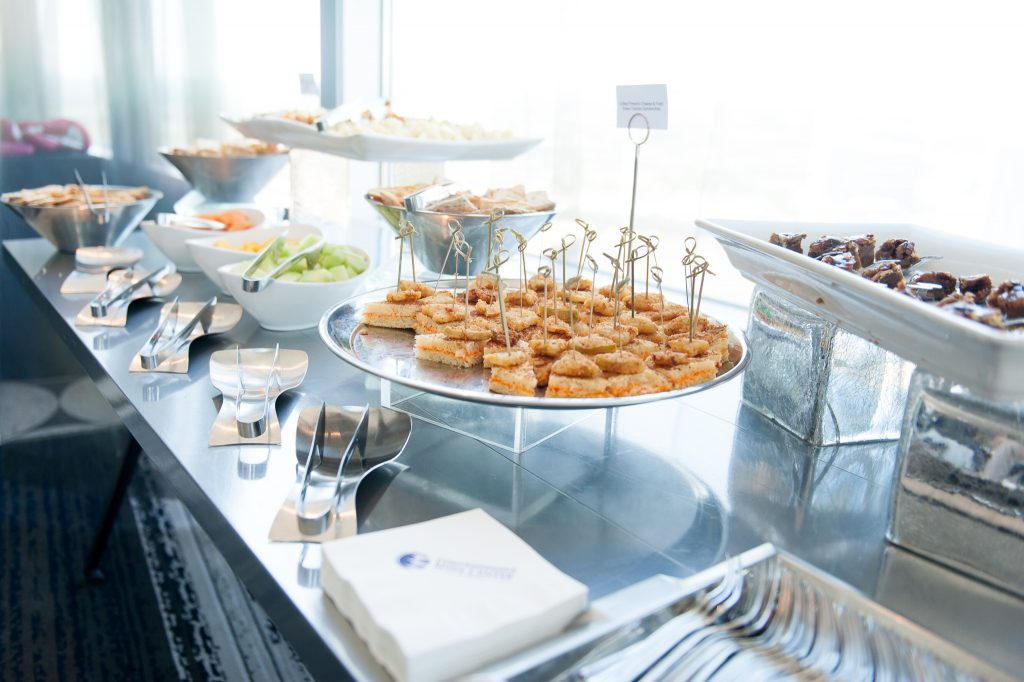 A nourishment break for a sales team, complete with sweet and savory options.