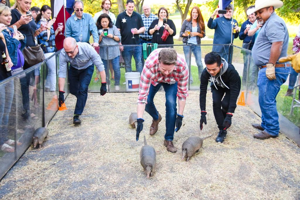 A Texas-themed Welcome Reception for a group of 100 Sales Reps in San Antonio that included an interactive activity with live Armadillo Races!