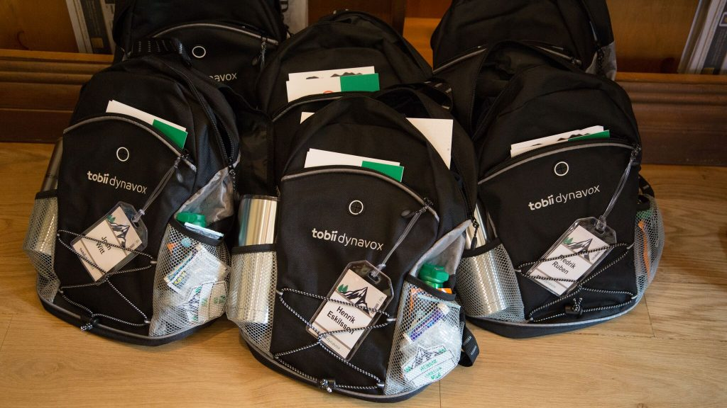 Custom-branded backpacks for a team of sales meeting attendees in Beaver Creek, Colorado, full of every necessity needed to get them through a busy week.