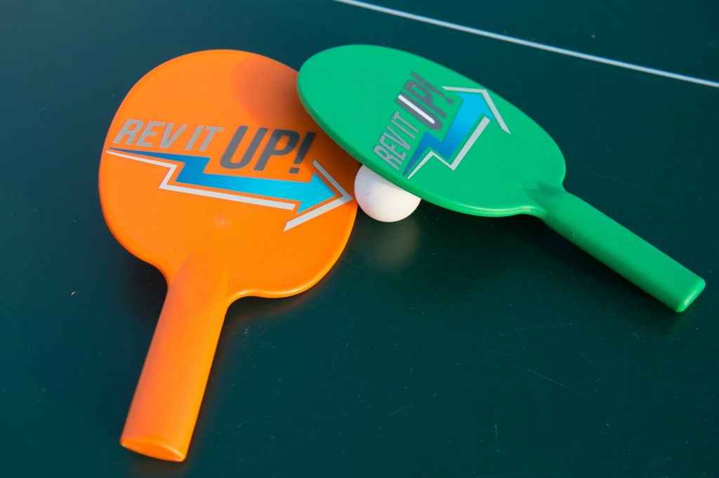 Branded ping pong paddles for a corporate social function – it's all in the details!