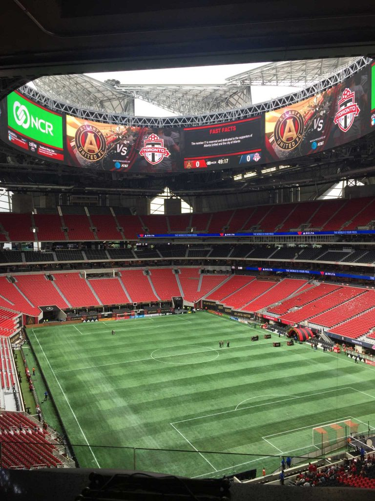 The view from a sports hospitality suite at the new Mercedes Benz stadium in Atlanta for a group of national sports league sponsors.