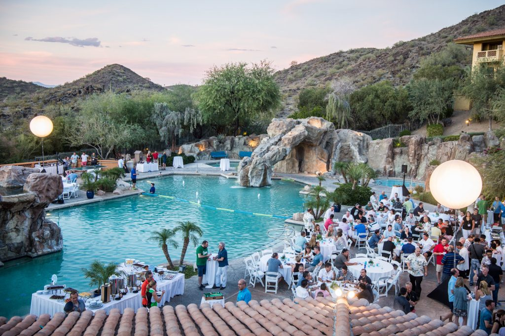 A corporate event welcome reception at a hotel in the valley of Arizona.
