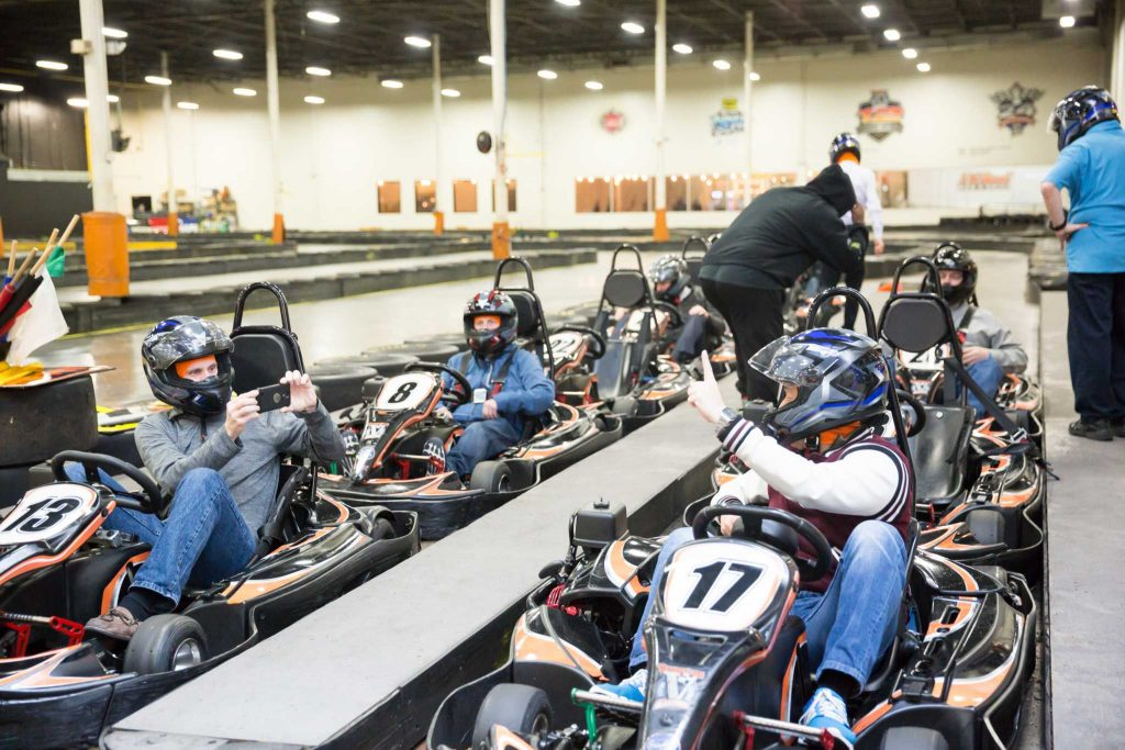 An off-site outing of go karting fun for a group of 80 Innovators after a full day of meetings and workshops in Charlotte, North Carolina.