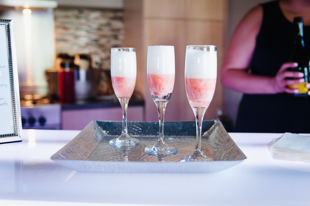 Strawberry and Champagne Liquid Nitrogen drinks.
