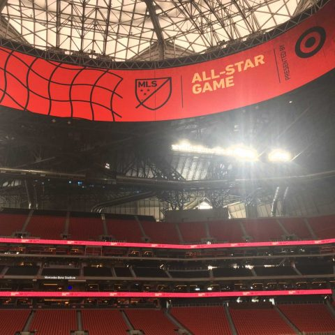 All Star Press Announcement Branding Throughout the Mercedes Benz Stadium