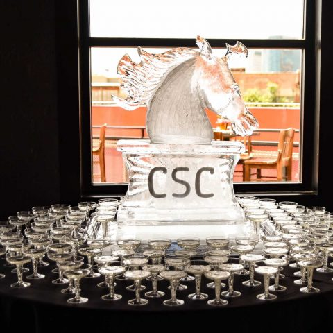 Derby Social Ice Sculpture With Champagne Coupes
