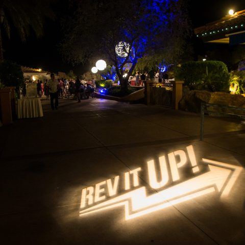Gobo Placed At Entrance Of A Poolside Welcome Reception
